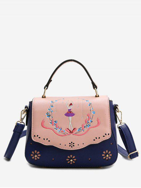 unique Embroidery Laser Cut Out Print Handbag - BLUE  Mobile