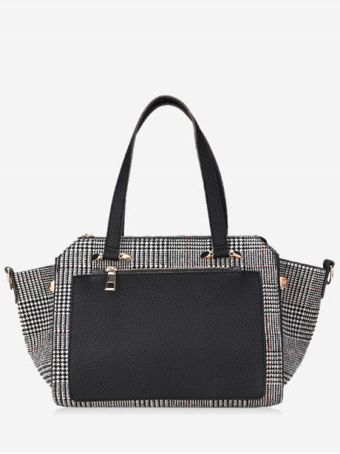 women Contrasting Color Plaid Handbag - BLACK  Mobile