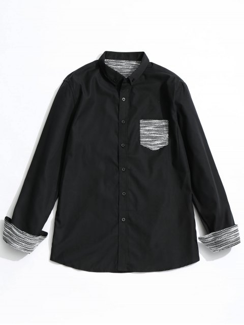 chic Front Pocket Button Down Shirt - BLACK S Mobile