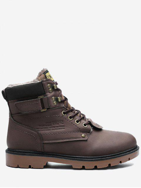 shops Faux-fur Lined Round Toe Chukka Boots - BROWN 45 Mobile