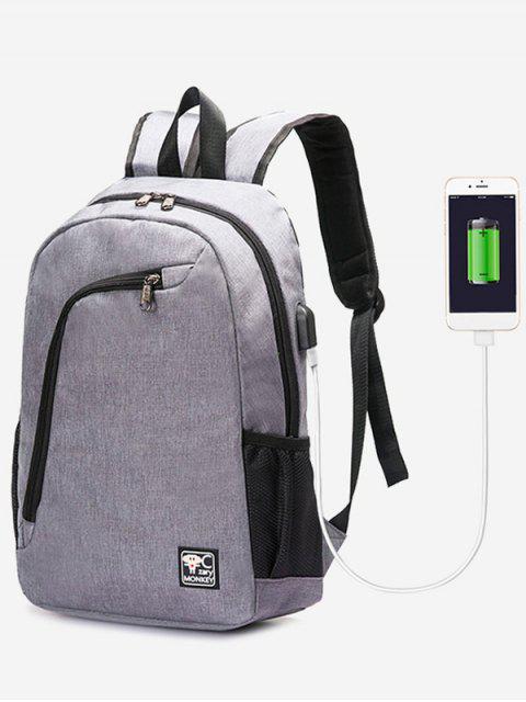 best USB Charging Port Side Pockets Backpack - GRAY  Mobile