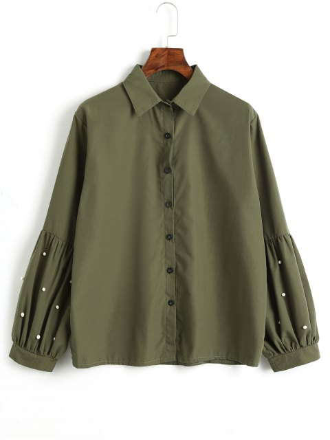 buy Button Down Faux Pearls Shirt - ARMY GREEN S Mobile