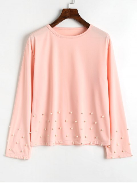 latest Long Sleeve Pearly T Shirt - PINK XL Mobile