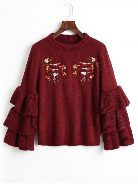 unique Layered Sleeve Floral Embroidered Sweater - WINE RED ONE SIZE Mobile
