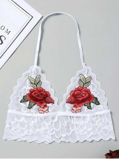 Bralette de encaje bordado festoneado - Blanco L Mobile