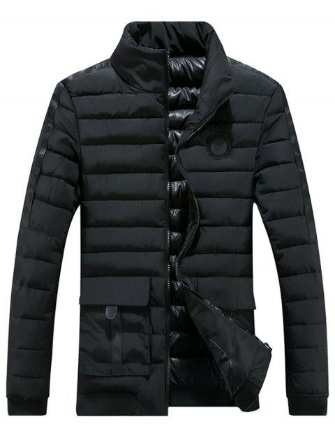 fancy Chest Patched Zip Up Puffer Jacket - BLACK 2XL Mobile
