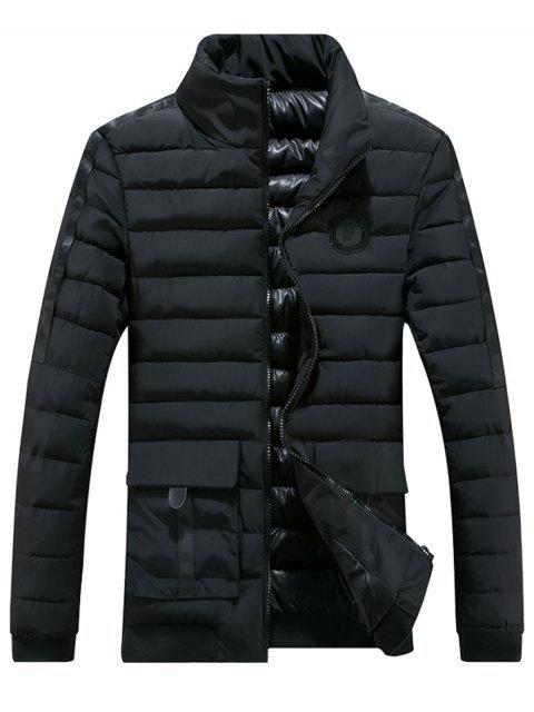 Chaqueta con capucha y cremallera en el pecho con cremallera - Negro XL Mobile