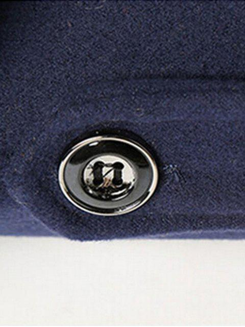 women Epaulet Embellished Singe Breasted Fleece Jacket - KHAKI 2XL Mobile