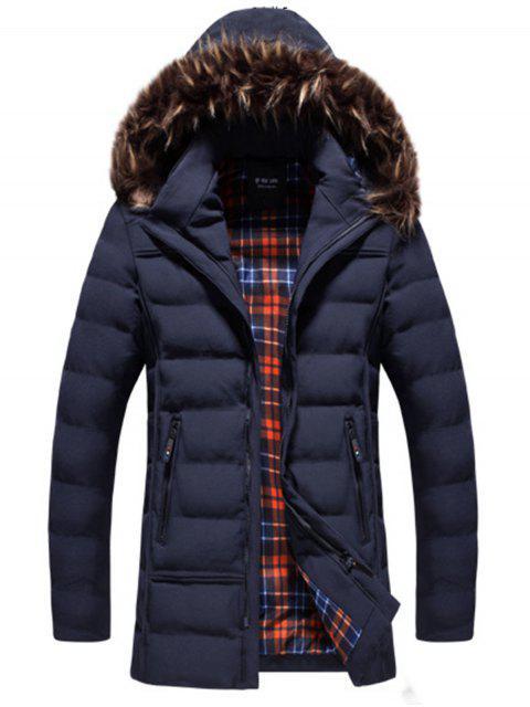Chaqueta con capucha con capucha y detalle de piel sintética - Azul 3XL Mobile