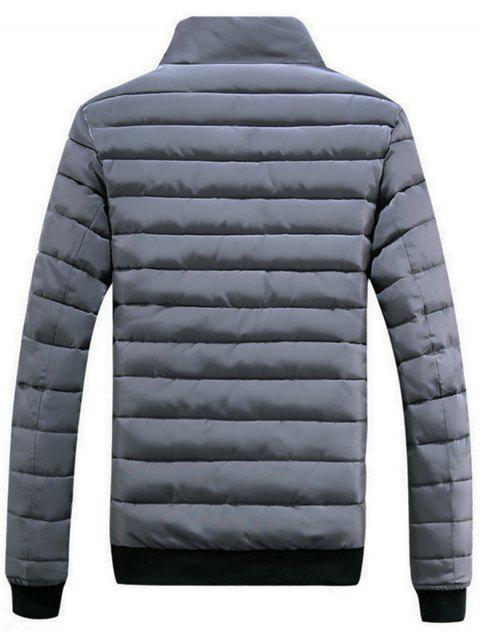 fashion Chest Patched Zip Up Puffer Jacket - GRAY 2XL Mobile
