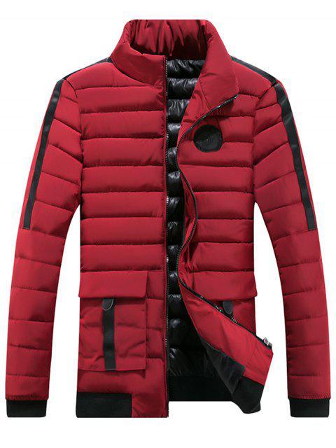 Chaqueta con capucha y cremallera en el pecho con cremallera - Rojo 3XL Mobile