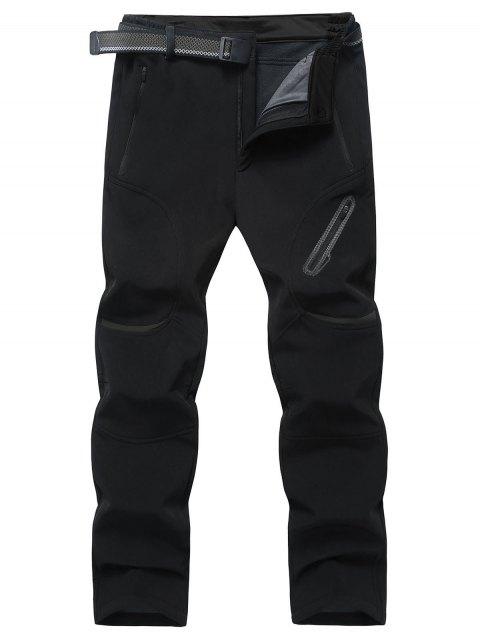 Bolsillos con cremallera Pantalones de lana - Negro 4XL Mobile