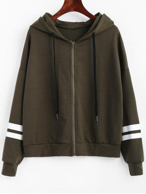 Zip Up Striped Drawstring Hoodie - Verde del ejército XL Mobile
