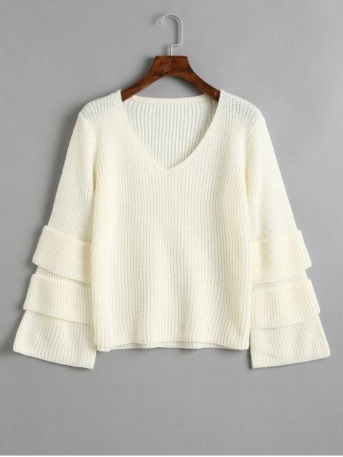 Jersey con cuello en V y manga jersey en capas - Blanco Única Talla Mobile