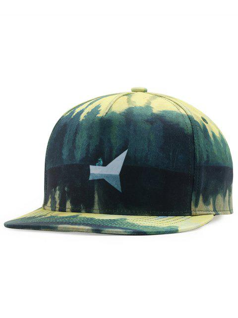 ladies Lake View Pattern Adjustable Baseball Cap - GREEN  Mobile