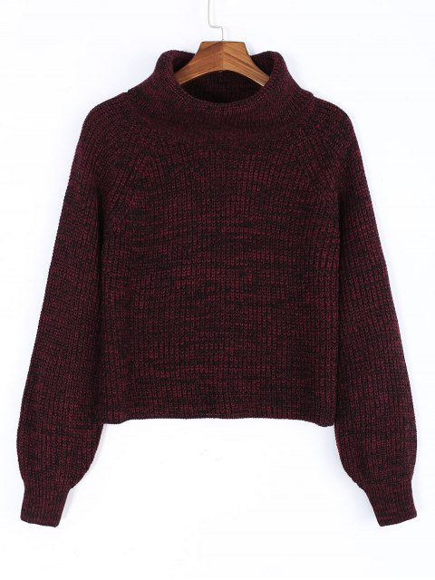 outfit Turtleneck Heathered Pullover Sweater - WINE RED ONE SIZE Mobile