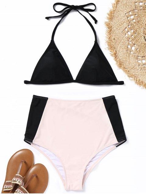 Conjunto de bikini de talle alto de dos tonos acolchado - Negro y rosa S Mobile