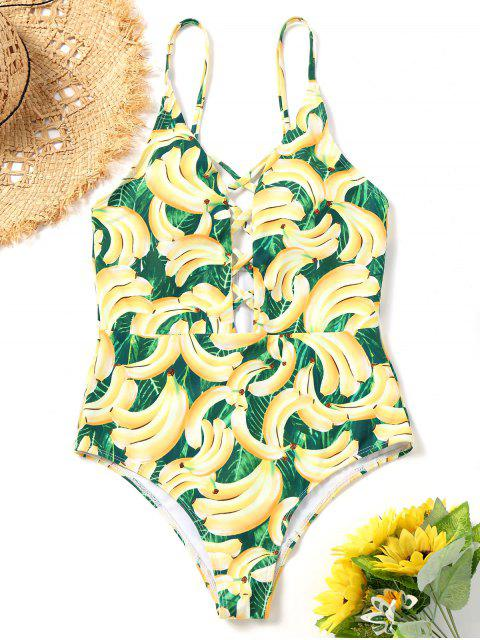 affordable Strappy Banana Print One Piece Swimsuit - COLORMIX S Mobile