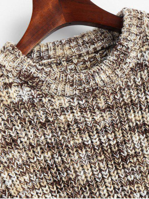 chic Lantern Sleeve Multicolored Chunky Sweater - COFFEE ONE SIZE Mobile