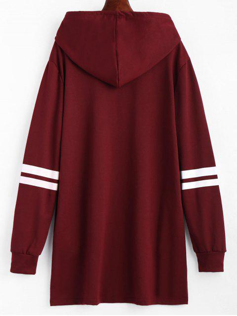 women's Striped Longline Drawstring Hoodie - WINE RED S Mobile