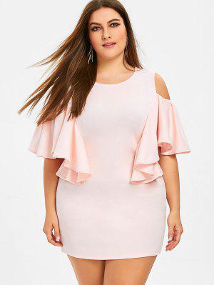 Ruffles Cold Shoulder Plus taille robe moulante