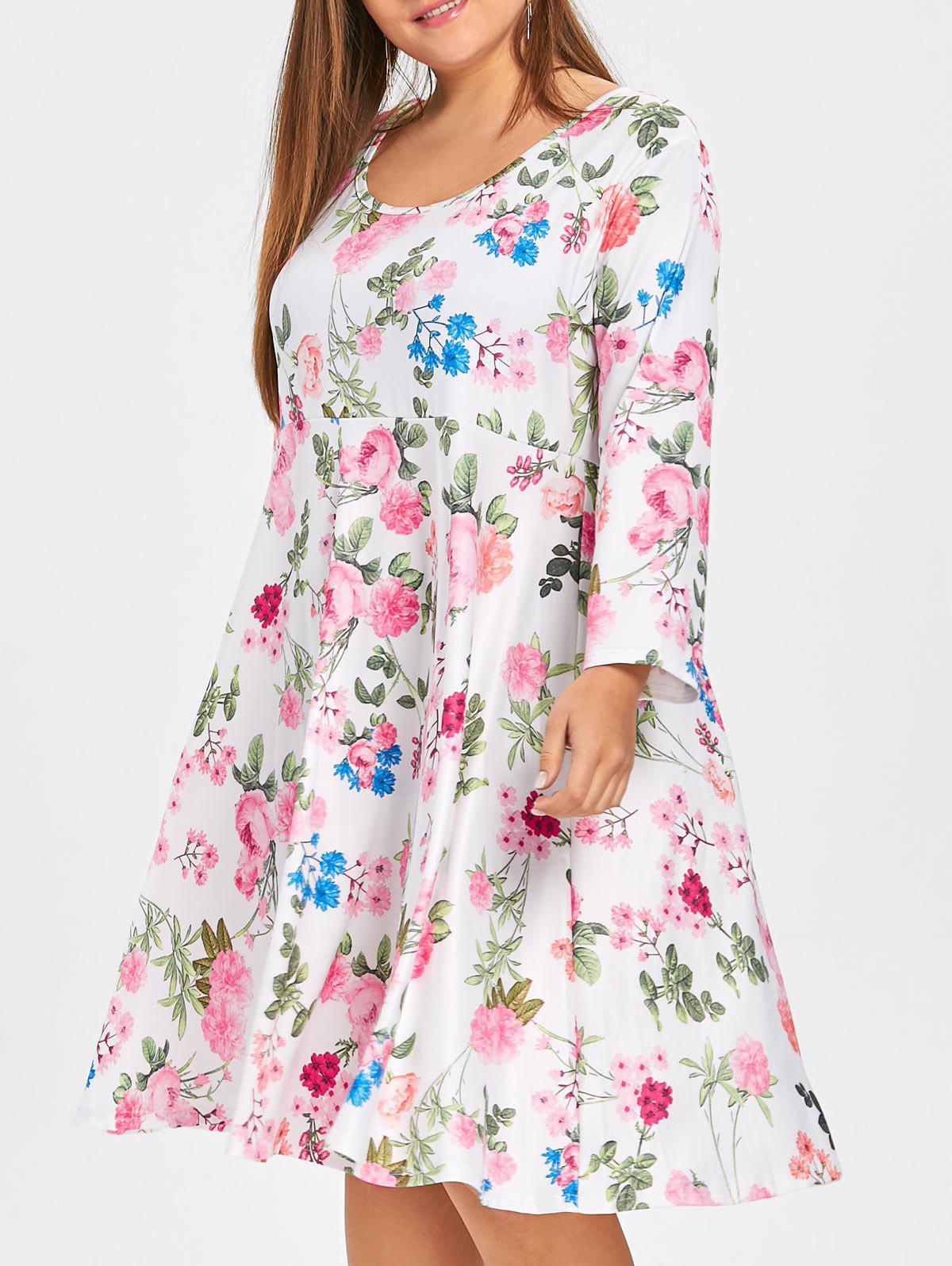 Plus Size Floral Skater Dress with Sleeves 237068705