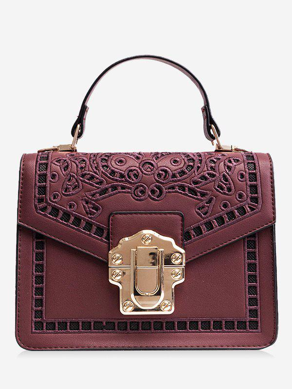 Embroidered Faux Leather Handbag 237878001