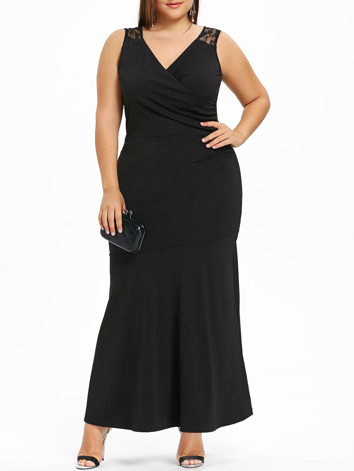 Plus Size Lace Trim Maxi Evening Dress 233577602