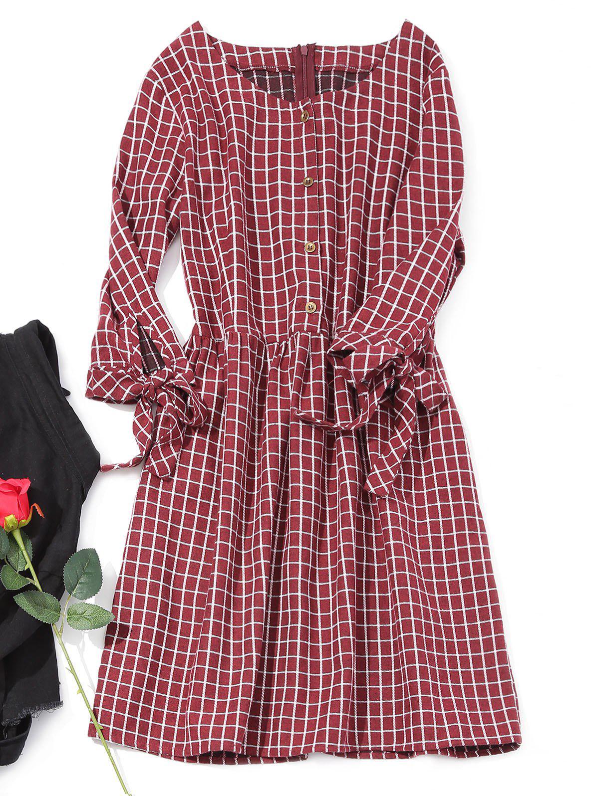 Image of Half Button Mini Checked Dress