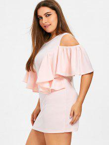 da27ab8f1e4 39% OFF  2019 Ruffles Cold Shoulder Plus Size Bodycon Dress In ...