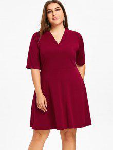 Vestido Con Cuello En V Talla Plus Y Llamarada - Vino Rojo 5xl