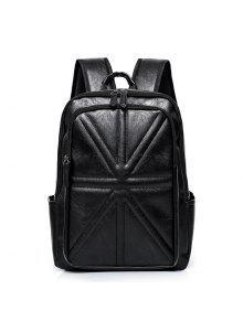 خياطة مبطن بو الجلود حقيبة الظهر - أسود