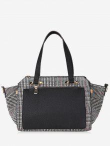حقيبة يد من قماش المربعات بألوان متعاكسة - أسود