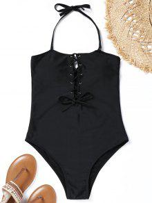 9c65e6fddf2 Black Zaful Halter Lace Up High Cut Swimsuit ...