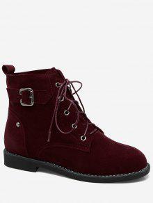 حذاء كاحل من الجلد المدبوغ بأربطة - نبيذ أحمر 42