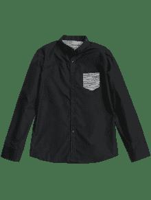 Botones En El Bolsillo Camisa Xl Negro Delantero Con 4q5wpBa