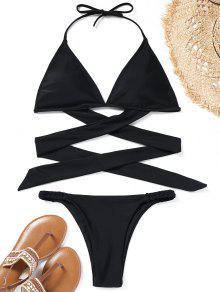 Conjunto De Bikini De Halter Wrap - Negro S