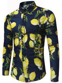 قميص كم طويل الليمون طباعة  - الأرجواني الأزرق M