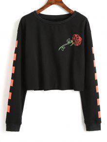 Sweat-shirt Court à Rose Et Carré Contrastant - Noir M
