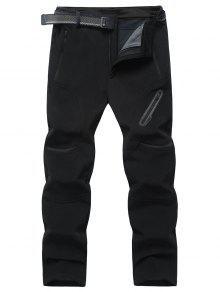 Reißverschluss Taschen Fleece Hose - Schwarz 3xl