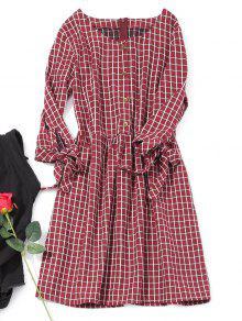فستان منقوش مصغر بنصف الزر - نبيذ أحمر L