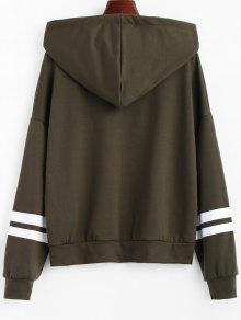 Zip Hoodie Verde Striped S Drawstring Up Ejercito UrHpqUw