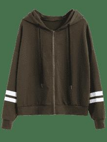Drawstring Striped Ejercito Zip Up S Verde Hoodie vnxwAZ1B