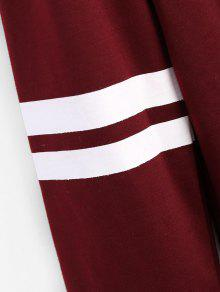 Hoodie Striped Longline Drawstring Vino Rojo S Px0Hq1x