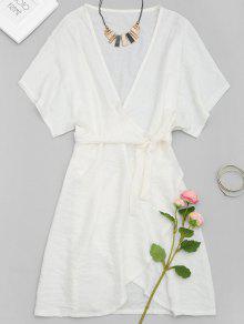 Vestido De Pliegue Mini Envoltura Del Cuello - Blanco L
