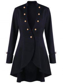 معطف تنورة تونيك زر - أسود L