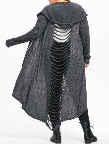 زائد حجم مرقع سلم تمزيق معطف مقنعين - الرمادي العميق 5xl