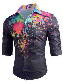قميص طويل الأكمام لون الطلاء رش - أسود L