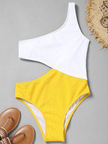 بذلة سباحة بكتف واحد بلونين - الأبيض والأصفر L