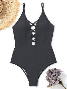 لباس سباحة من قطعة واحدة بأربطة متقاطعة - الرمادي الفحمي S